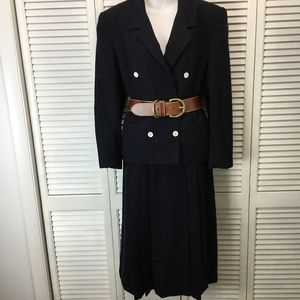 Brooks Brothers womens navy wool skirt suit 12